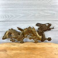 VINTAGE SOLID BRASS DRAGON FIGURE WALL HANGINGS 20""