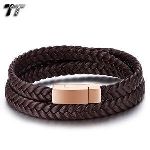 TT Tri Row Brown Leather 316L S.Steel Rose Gold Magnet Buckle Bracelet (BR211H)