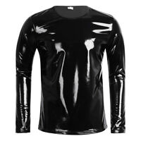 UK_Men Shiny Leather Long Sleeve T-Shirt Nightclub Metallic Hip Hop Pullover Top