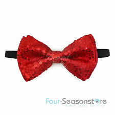 Red Tuxedo Christmas Holiday Party sequin Neckwear Adjustable Unisex Bow Tie