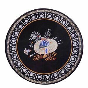 Black Marble Round Coffee Table Top Pietradura Inlaid Work Garden Decorate Gifts