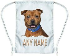 RED FAWN STAFFORDSHIRE BULL TERRIER Personalised Gym Bag for Boys & Girls