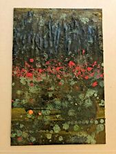 """Original Art Recycled Steel Wall Art 7-3/4"""" x 11-1/2"""" abstract painting unframed"""