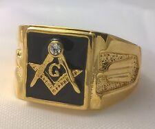 G-Filled Mens 18k gold Freemason simulated diamond black back Masonic ring Mason