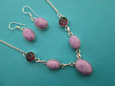925 Silver Natural Mosaic Jasper & Amethyst Necklace & Earrings Set (nk1382)