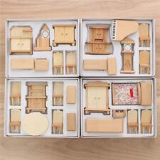 29 Pcs 1/24 Scale Dollhouse Wooden Miniature Dollhouse Furniture Model Unpainted