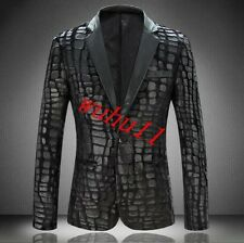 Velvet New Men Coats Korea Slim Jackets Fashion One Botton Casual Long Sleeve