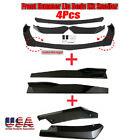 Universal Glossy Black  Car Bumper Spoiler Body Kit + Side Skirt + Rear Lip