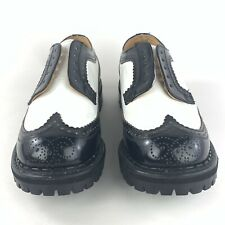 Underground Shoes Wingtip Creepers Black White Leather Mens 8