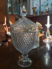 Large Vintage Cut Crystal Pedestal Egg Shaped Candy Dish with Diamond Pattern