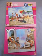 2 Barbie 100 piece jigsaw puzzles 1999 beach rainy day tea party ages 5-8
