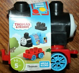 "Thomas & Friends THOMAS MEGA BLOKS 5-Piece Block Train Build Set. 5"" Tall. NEW"