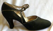 Vintage 1920s Black Heel Shoes Size 5 1/2