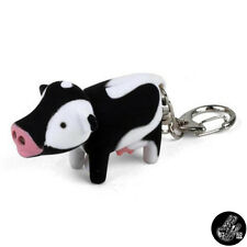 Cow Key Chain Ring Keyring with LED Flashlight Creative Design Animals Kids Gift