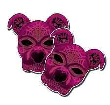 """SUGAR SKULL Pitbull Terrier Dog PINK Day of the Dead Dia de los Muertos 2 pack5"""""""