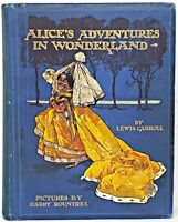 X RARE! color ALICE IN WONDERLAND Childrens LEWIS CARROLL illustrated Disney vtg