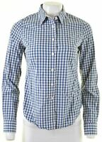 JACK WILLS Womens Shirt UK 10 Small Blue Check Cotton  GZ20