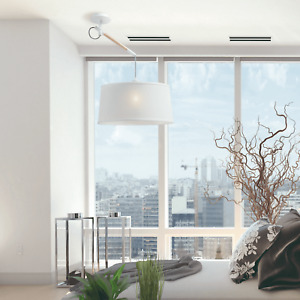 Mantra Nordica Multi Position Single Pendant in Ivory White and Beech Wood