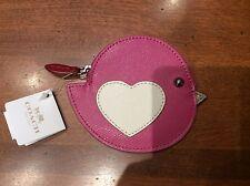 NWT Coach Pink Cross-grain Leather Love Bird Coin Purse/ Zip Wallet #63144