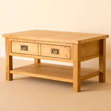 Lanner - Oak Coffee Table With Shelf & Drawer / Rustic Waxed Oak Lounge Table