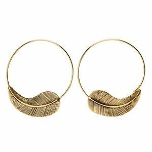81stgeneration Gold Tone Brass 50 mm Textured Leaf Hoop Spiral Threader Earrings