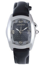Chronotech Men's CT.7660M/04 Rectangle Black Dial Black Leather Wristwatch
