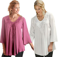 UK Sizes 8 up to Plus 38 Ladies Pink or Ivory Lace Top Blouse eu 34-64