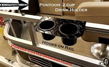 Pontoon Boat Powder Coated Diamond Plate 2 Cup Drink Holder > Fits 1 Inch Rail