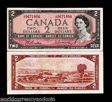 CANADA 2 DOLLARS P76b 1954 YOUNG QUEEN BEATIE / RASMINSKY SIGN MONEY BANK NOTE
