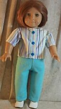 Doll Clothes Made 2 Fit American Girl Shirt Pants Turquoise Flannel Stripes New