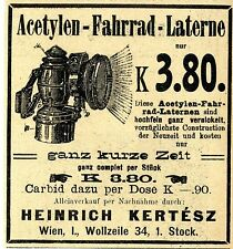 Acetileno-bicicleta-farol-muy breve tiempo-kertesz Viena ad 1910