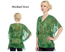 New Michael Koors Hi-Fashion Chiffon Caftan Top Gold Lace-Up Chains  XS