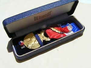 French WW1 Medal of Honour for Labour, gold, attributed in 1960. & box.