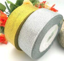50mtr Metálico brillo chispeante Organza 1 pulgada de cinta ancha 25mm De Oro Y Plata