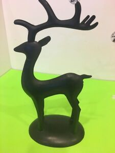 Black Metal Sculpture Deer 10 Pt Buck Home Holiday decor