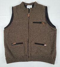 Large HARLEY OF SCOTLAND Mens Brown Wool Hunting Full Zip Vest