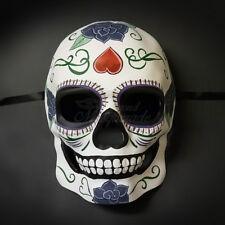 Day of the Dead Mask White upside down Heart Smiling Skull Full Face Mask M3174Q