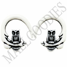 0678 Spiral Owl Taper Expander Stretcher Plugs Gauges Hoops 6G 4mm White Black
