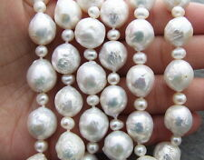 Natural 10-11mm Bead-Nucleated Pearl Necklace-925 Silver Clasp