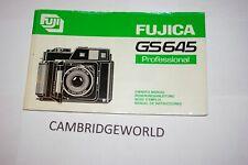 FUJICA FUJIFILM FUJI GS645 CAMERA INSTRUCTION MANUAL GUIDE BOOK ORIGINAL GENUINE
