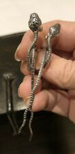 Silver snake earrings unusual and unique