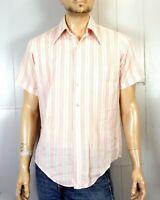 vtg 60s NoFade White Pink Embroidery Striped SS Big Collar Dress Shirt sz 15.5 M