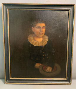 Antique 19thC Old GEORGIAN Era YOUNG CHILD Holding HAT Oil PORTRAIT PAINTING