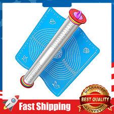 Adjustable Rolling Pin Stainless Steel Dough/Fondant Roller Non Slip Pastry Mat