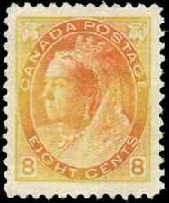 Canada #82 mint XF OG HR 1898 Queen Victoria 8c orange/light orange Numeral