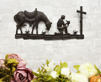 "21""L Western Praying Cowboy With Horse by The Cross Metal Wall Decor Art Sign"
