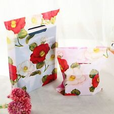 Plastic Gifts Bags With Handles Flower Print DIY Christmas Birthday Tools 100pcs