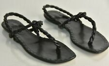 NEW Manolo Blahnik Leather Black Sandals Flats Shoes 41