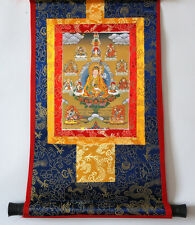 BROCADED BLESSED GOLDEN SCROLL TIBETAN THANGKA: GURU RINPOCHE PADMASAMBHAVA =