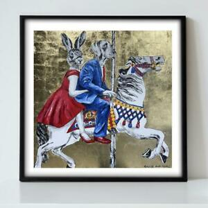 GILLIE AND MARC. Direct from Artists. Authentic Carousel Gold Art Print